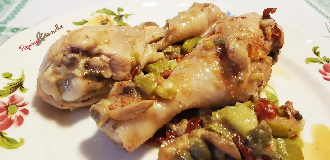 Coscette di pollo alle verdure cottura in padella