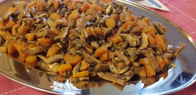 Contorno veloce per arrosti, funghi e carote