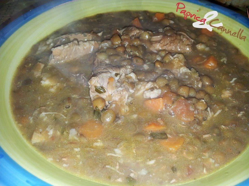 Zuppa di lenticchie con puntine di maiale
